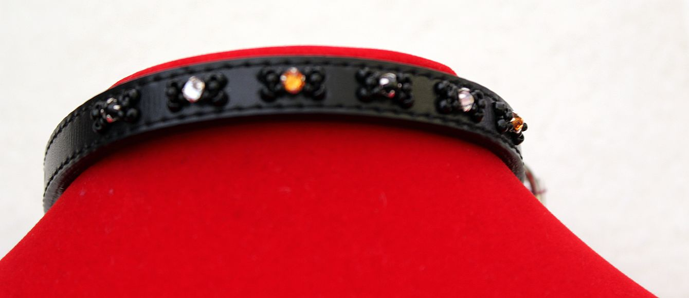 Black Leather Swarovski's - Dog Collar