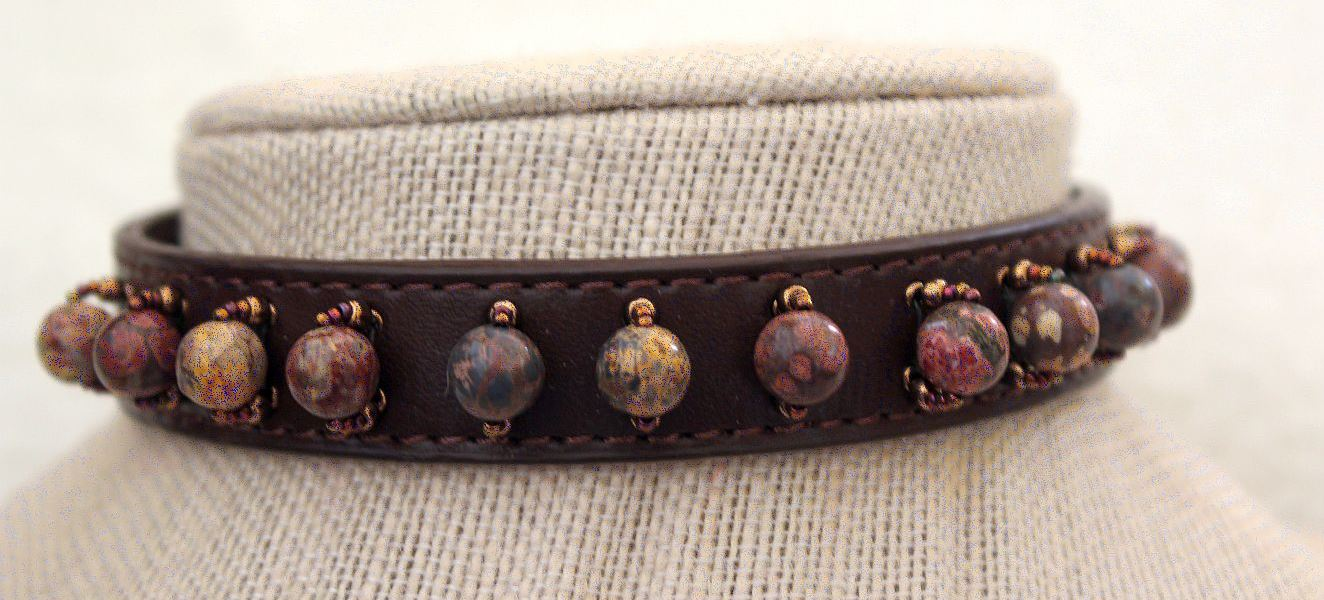 Leopard Jasper - Dog Collar