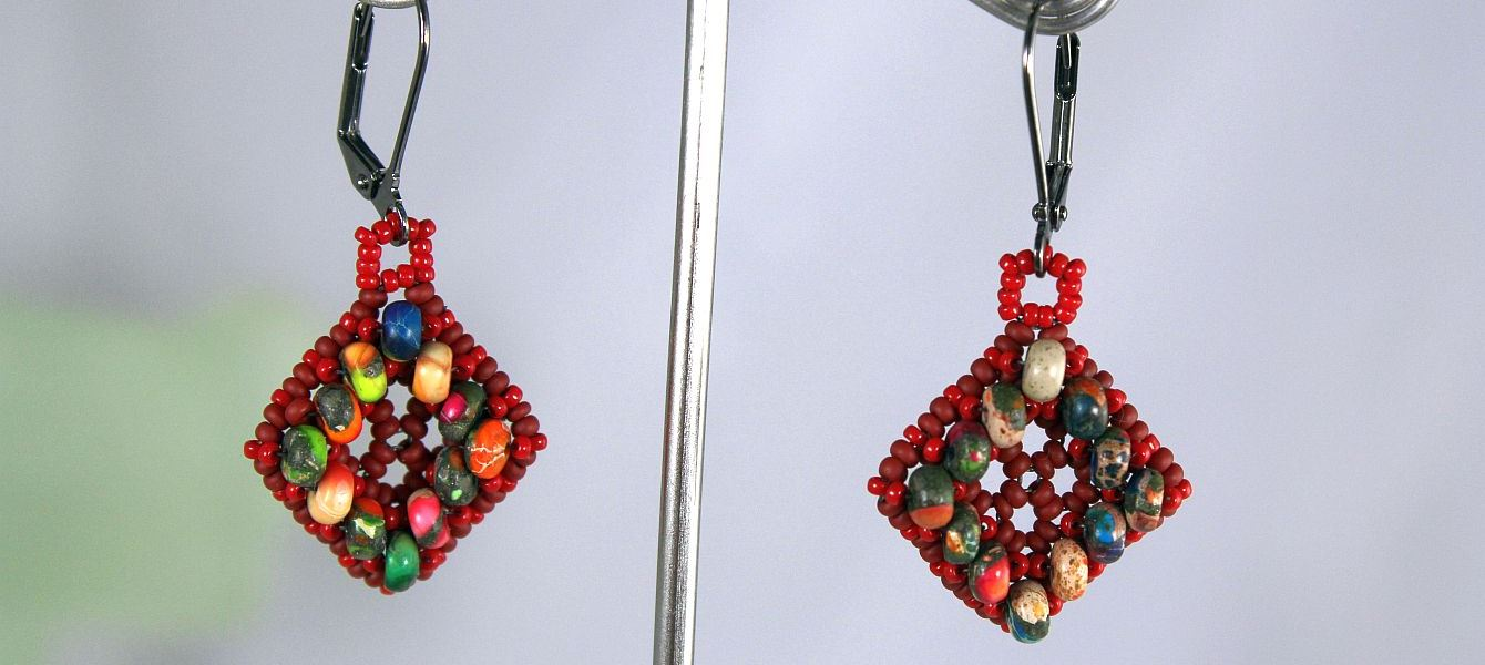 Image of Mardi Gras Red Earrings